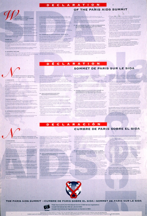 <p>Blue poster with white and blue lettering.  Poster presents the text of the Declaration in three languages.  AIDS-related text and a world map appear in the background.  A globe wrapped in red ribbon appears below the text.  Publisher and sponsor information at bottom of poster.</p>