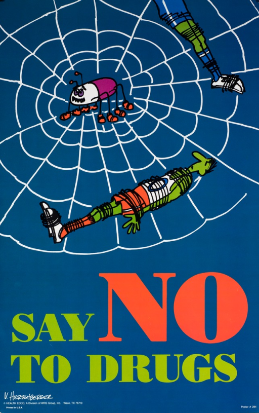 <p>Predominantly blue poster with green and red lettering. Visual image is an illustration of a spider web with two basketball players wound in the web and a large spider in the middle of the web. Title below image. Artist signature and publisher information in lower left corner.</p>