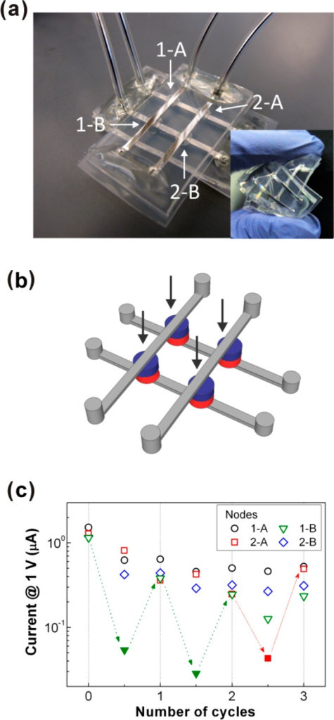 "Crossbar array memory device (i.e., memristor)composed of hydrogel and liquid metal. (a) Photograph of a prototypeof an integrated soft memristor circuit with a 2 × 2 crossbararray. The device is flexible as shown in the inset image and compatiblewith water. (b) Schematic of the prototype in a. The arrows pointto the nodes, consisting of two different hydrogels sandwiched betweenliquid metal electrodes. (c) Switching bias to turn ""off""(+ 5 V) and ""on"" (−5 V) the nodes is appliedto the 1-B node for the first and second cycles and to the 2-A nodefor the third cycle, respectively, as shown by the arrows. The filledsymbols represent the nodes in the ""off"" state. Adaptedwith permission from ref (99). Copyright 2011 Wiley."