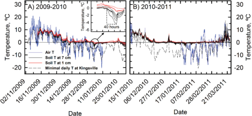 Air and soil temperature recorded for November 2009 to January 2010 (A) and November 2010 to March 2011 (B), at or near the field site in Leamington, Ontario. Thermistors recorded soil temperature at a depth of 1cm (black lines) and 7cm (red lines). The blue line shows the air temperature at the field site until 12 January 2010 (A), and November 2010 to January 2011 (B; except for 15 November 2010 to 15 January 2011: lost data). The dashed line represents the daily minimum temperature registered by Kingsville, Ontario, weather station, located 11 km from the field site (data from The Weather Office, Environment Canada, http://www.weatheroffice.gc.ca).