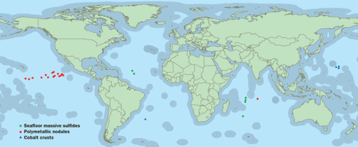 "So far, the International Seabed Authority has issued 26 exploratory leases in sections of ""the Area""—the vast international seabed that lies outside individual countries' borders (indicated on the map in gray). The exploratory leases issued to date cover approximately 2 million km2 of seabed. No exploitation leases have been issued yet.Jane Whitney/janewhitney.com"