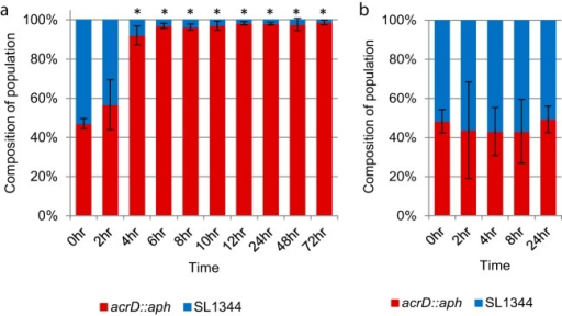 Impact of acrD inactivation on bacterial fitness. (a) Fitness under standard laboratory conditions in vitro. LB broth was inoculated with a 50:50 mixture of wild-type and acrD mutant cells and grown at 37°C with aeration. Samples were taken at the indicated time points, and fresh cultures were inoculated every 24 h. Data presented are the means of three independent experiments with three biological replicates each, ± standard deviations. (b) Competitive infection of polarized Caco-2 epithelial cells. After infection with a 50:50 mixture of wild-type and acrD mutant cells, association was determined at 2 h postinfection prior, to gentamicin treatment. A gentamicin protection assay was used to calculate invasion and persistence at later time points. Replica plating was used to determine the proportion of wild-type versus acrD::aph bacteria. Data presented are the means of three independent experiments performed, with 4 replicates each, ± standard deviations. *, P < 0.05; **, P < 0.001.