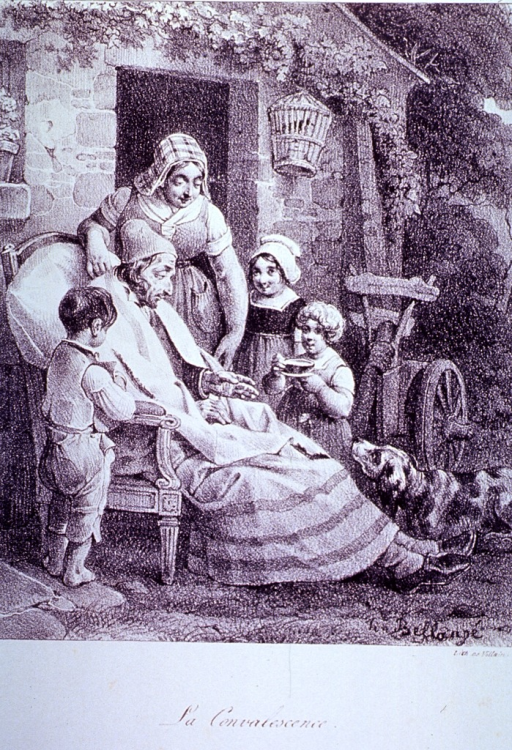 <p>A man in his yard attended to by his family.</p>