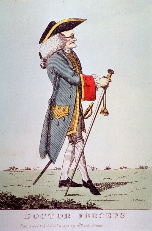 <p>An accoucheur standing, full length, right profile; holding staff and wearing glasses.</p>