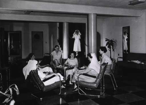 <p>Darwin.  Home for Nursing Sisters near Darwin General Hospital.  View of off duty nurses in lounge.</p>