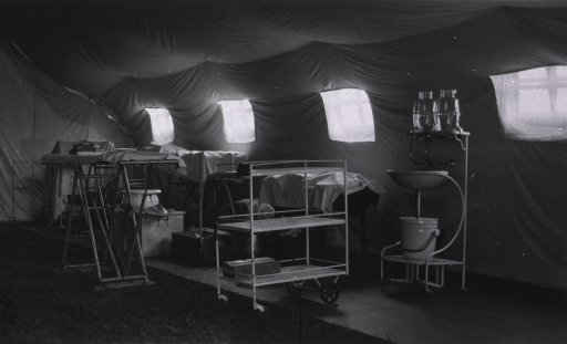 <p>Interior of tent operating room.</p>