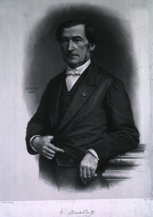 <p>Three-quarter length, full face, standing, one hand in waistcoat, other arm resting on books.</p>