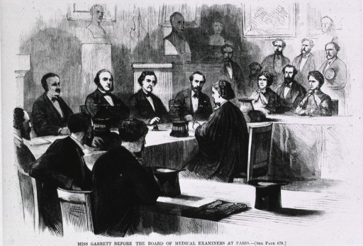 <p>Miss Garrett before the Board of Medical Examiners at Paris [Eliz. Garrett Anderson from U.S. who presented thesis for M.D., despite anti-female opposition].</p>