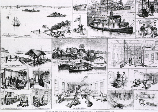 <p>A group of 17 vignettes of various scenes depicting the treatment and care of sick persons, views of the facilities, boats, and burial grounds, at the quarantine stations at Swinburne, Hoffman, and Staten Islands.</p>