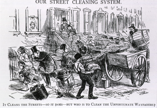 <p>&quot;It cleans the streets - so it does - but who is to clean the unfortunate wayfarers?&quot; Cartoon on street cleening and rubbish removal in which refuse blows onto passers-by.</p>
