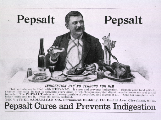 <p>Pepsalt...Cures and prevents indigestion.  Advertisement.</p>