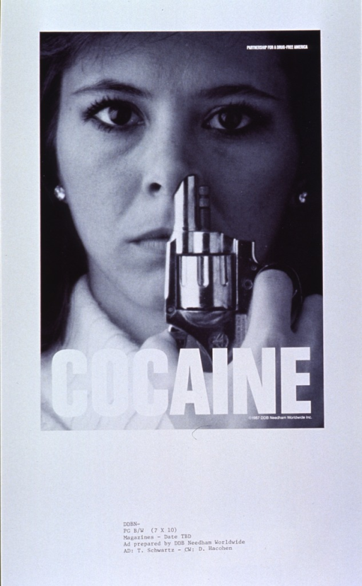 <p>White poster dominated by a reproduction of a b&amp;w photo.  The photo shows a young woman sticking a snub-nosed pistol in one nostril.  Title appears at bottom of photo.  Poster may be a proof copy as there appear to be codes from the advertising agency at the bottom.</p>