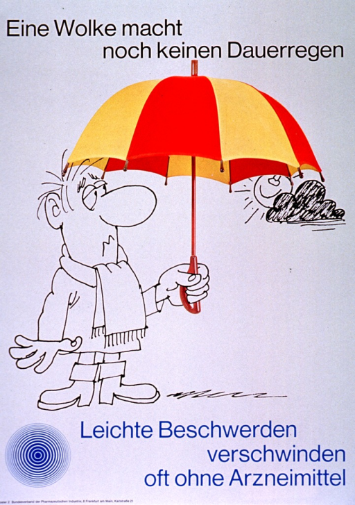 <p>Gray poster with black and light blue lettering.  Title at top of poster.  Visual image is a combination of a line drawing of a man and a color photo reproduction of an umbrella.  The man holds the umbrella, which partially obscures the sun and a cloud.  Caption below illustration indicates that minor ailments often disappear without medication.  Note and publisher information in lower left corner.</p>