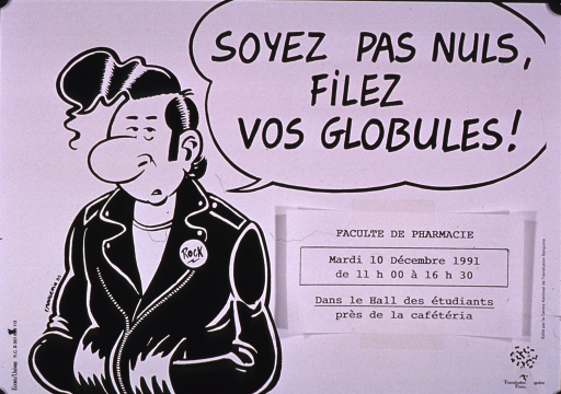 <p>Predominantly white poster with black lettering.  Title in upper right corner.  Visual image is an illustration of one of Margerin's charachters, Lucien; he wears a button labeled &quot;Rock&quot; on his jacket.  Title appears as text spoken by the man.  Title addresses not being worthless and spinning out one's droplets, perhaps an encouragement to give blood.  Date and location for an event at the School of Pharmacy below title; the information is on a separate slip of paper taped to the poster.  Publisher information in lower right corner.</p>