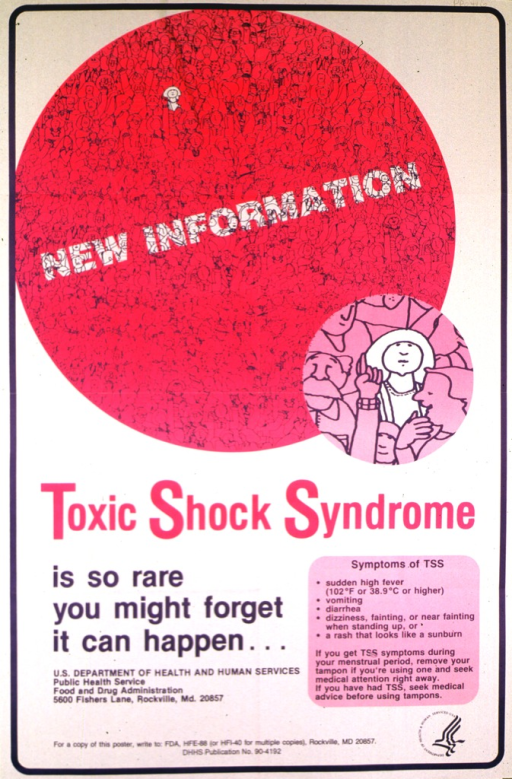 <p>Two sided poster. The front of the poster features a large pink circle filled with people; one woman is in white to stand out in the crowd.  A list of symptoms of TSS is on the bottom right. The back of the poster has questions and answers, terms to match, looking at labeling, lesson plans, and topics for classroom instruction.</p>