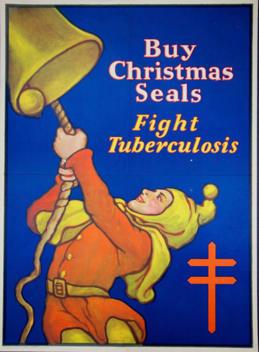 <p>Blue poster with white and yellow lettering.  The illustration is of a man in a court jester-like costume pulling a rope and ringing a bell.  The anti-TB emblem of the Christian double-barred cross is in the lower right corner.</p>