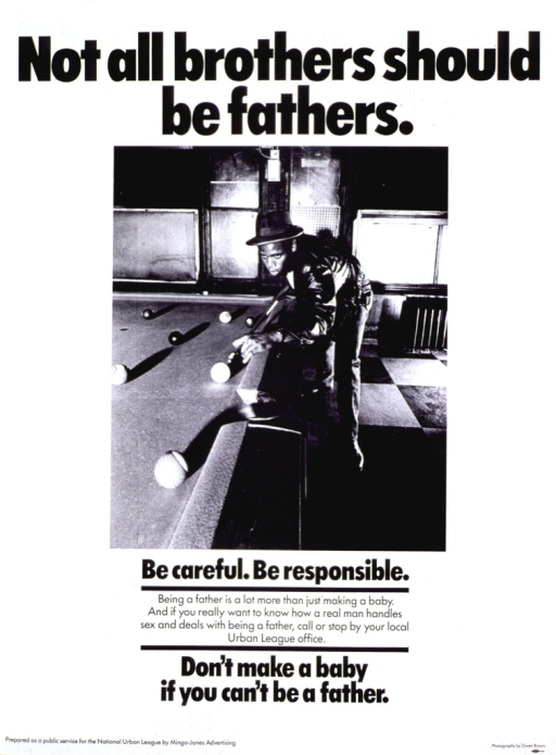 <p>White poster with black lettering.  Title at top of poster.  Visual image is a reproduction of a b&amp;w photo in which a man is playing pool and preparing to take a shot.  Caption and note below photo.  Publisher information in lower left corner.</p>