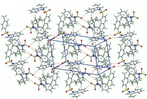 A view of the supramolecular array parallel to (1 2 4) in (I). The C—H···O and C—H···π interactions are shown as orange and purple dashed lines, respectively.
