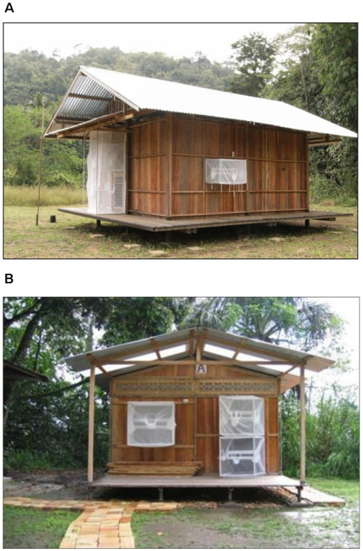 Experimental huts fitted with window and door interception traps.(A) Thailand, (B) Peru.
