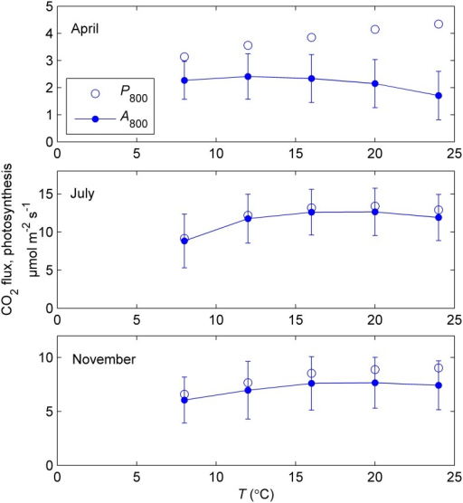Mean temperature responses of measured net CO2 exchange at 800 μmol m−2 s−1 (A800) and estimated photosynthesis (P800) of 5–6 sample shoots during response measurements in controlled conditions in spring (9–12 April), summer (18–26 July) and late autumn (11–14 November) of year 2011. Photosynthesis was estimated from the net CO2 exchange by adding respiration measured in the dark. The error bars indicate standard deviation of net CO2 exchange. Note the different scales of vertical axes.