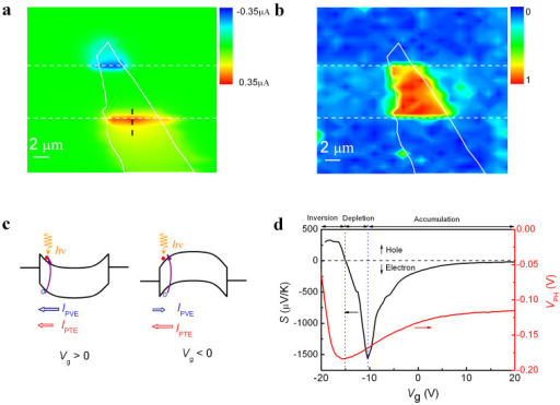 Photocurrent and Raman images of MoS2 transistor.(a) Short-circuit scanning photocurrent images taken at Vg = 15 V with a laser power of 100 μW. (b) Raman mapping image with the normalized E12g peak intensity of the MoS2 multilayer. In panels (a) and (b), the dashed lines indicate the edges of the source and drain electrodes while the white lines mark the boundaries of MoS2. (c) Energy-band diagram of a multilayer- MoS2 transistor under light illumination in the accumulation (Vg > 0 V) and depletion (Vg < 0 V) regimes. Electron-hole pairs are generated in the space-charge region by light absorption and contribute to PVE and PTE photocurrents, which are indicated by blue and red arrows, respectively. (d) Gate-dependent Seebeck coefficient (S, black line) and the open-circuit photovoltage (VPH, red line) with a 100-μW laser illuminated at the contact edge. The vertical blue dotted lines separate the regimes of accumulation, depletion and inversion while the horizontal black dashed line indicates the border between the electron and hole conductions.