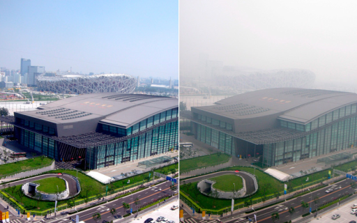 China launched an intensive effort to clean up Beijing's air for the 2008 Summer Olympics. The drastic measures did achieve noticeable results. However, levels of air pollution were still high, and air quality varied widely from day to day, as illustrated by these photos of Olympic venues taken 24 hours apart in August 2008.© Hand Goedel/epa/Corbis