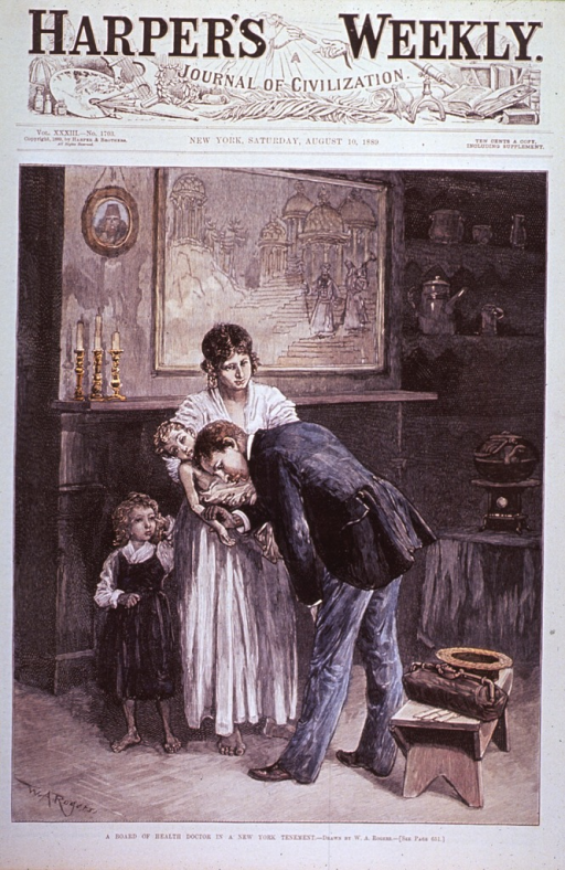 <p>In a room in a tenement building, a physician is taking the pulse and auscultating an infant held in his mother's arms.  A young girl stands by her mother.</p>