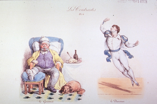 <p>Two vignettes:  A portly man seated in a chair with a gouty foot; a dog sleeps at his side, a table with food and drink in the background.  By contrast, a ballet dancer, slim and trim, leaps in the air.</p>