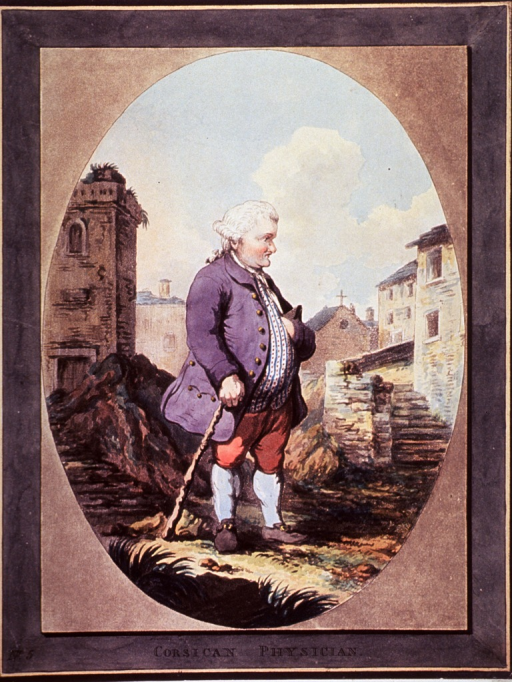 <p>Full length view of a physician standing in an Italianate landscape; in oval.</p>