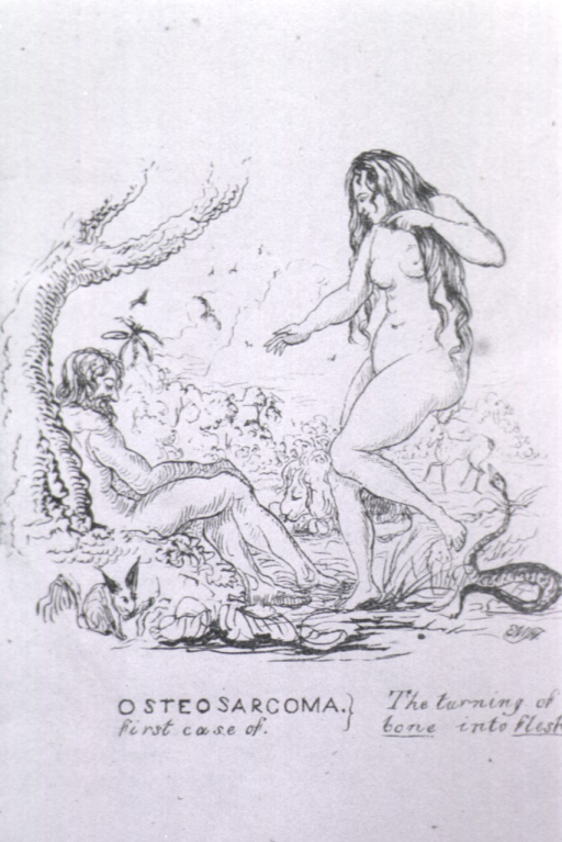 <p>A scene from the Garden of Eden: Adam slumps against a tree, while Eve stands above him. Behind Eve, the serpent is poised.</p>