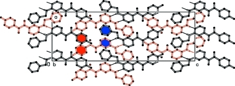 Crystal structure of the title compound. View along the b axis. Aromatic rings involved in π-π interactions are shown in red and blue.
