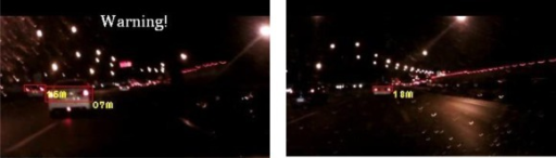 Results of vehicle detection and event determination for a nighttime rural road under a normal illumination with rainy and free-flowing traffic conditions (Test video 2).