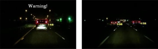 Results of vehicle detection and event determination for a nighttime rural road under a dim illumination with free-flowing traffic conditions (Test video 3).