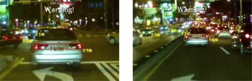 Results of vehicle detection and event determination for a nighttime urban road under bright illumination and congested traffic conditions (Test video 5).