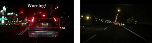 Results of vehicle detection and event determination for a nighttime urban road under bright illumination and free-flowing traffic conditions (Test video 6).