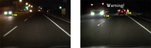 Results of vehicle detection and event determination for a nighttime highway under dim illumination and free-flowing traffic conditions (Test video 7).
