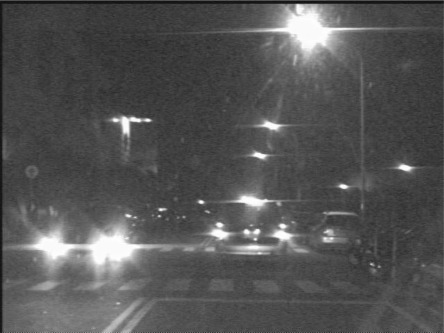 A sample grayscale nighttime road scene.