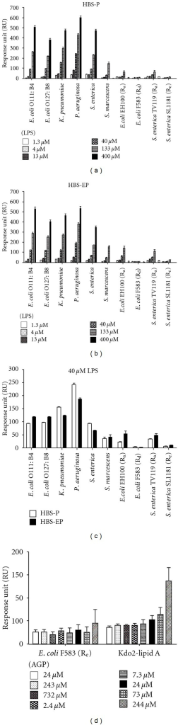 SPR assay of the binding of LPS or lipid A to AGP. (a) Binding responses over a concentration range of LPS in EDTA free (HBS-P) and (b) EDTA buffer (HBS-EP). (c) Binding responses at 40 μMLPS in EDTA free (HBS-P) and EDTA buffer (HBS-EP). (d) Binding responses of AGP to DMPC bilayer incorporated 10 (mol/mol) % lipid A.