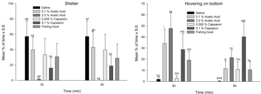 Occurrence of Shelter and Hovering on the bottom behaviours in Atlantic cod before and after saline, acetic acid, capsaicin, and fishing hook treatments.The data are expressed as mean percentage of time (%,±S.E.) the behaviour was displayed during 15 min segments at 30 min and 90 min after treatment. For each time point, identical letters denote a statistically significant (p≤0.05) difference between treatment groups (repeated measures GLM followed by post-hoc test using the Bonferroni correction). N = 7 fish per group except for 0.005% Capsaicin (N = 6) and 0.1% Capsaicin (N = 8).