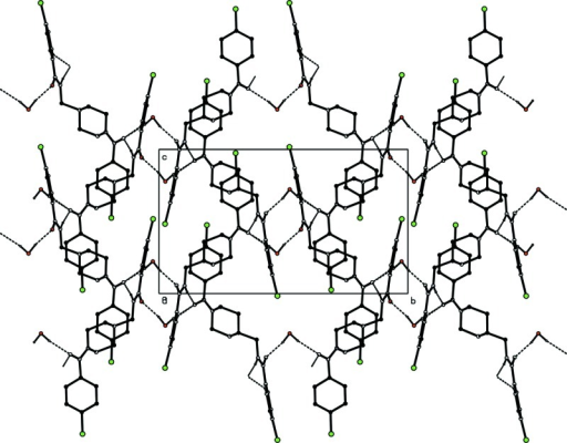 The packing of the molecules in the unit cell, viewed along a. Dashed lines indicate the hydrogen bonds.