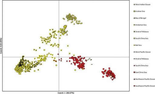 PCoA scatter plot showing the genetic distance among individuals according to oceanic region. The percentage of total variation attributed to each axis is as indicated. Rhizophora mucronata individuals are indicated with yellow markers; Rhizophora stylosa individuals are indicated with red markers.