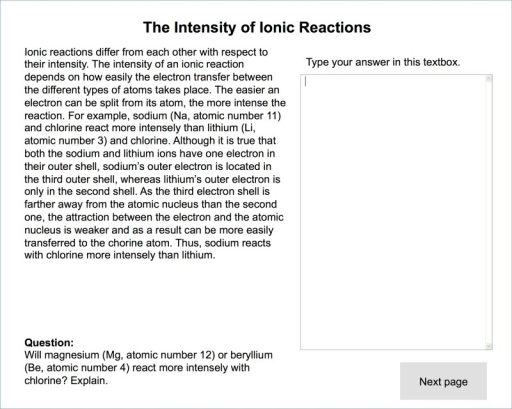 Screenshot of a reduced introductory instructional explanation with inference prompt (translated from German).