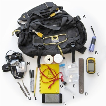 Field collection kit, including a (A) Mountainsmith lumbar pack (8 L volume); (B) UV flashlight; (C) GPS unit; (D) breaker bar; (E) 20 mL collection vials (cell counter type); (F) 100% alcohol-filled vials for millipedes that prematurely die (Sarstedt 8 mL plastic screw-top vials); (G) 10X and 20X Coddington loupes; (H) 100 mL collection vials (large pharmacy pill vial type); (I) 50 mL Falcon tube; (J) Field notebook; (K) Apple iPhone with internal GPS and Gaia GPS app with predownloaded USGS topo quads; (L) pencil, fine and extra fine point permanent Sharpie markers; (M) narrow and wide tip featherweight forceps from Bioquip; (N) headlamp from Black Diamond (Ion model).