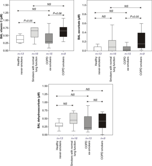 Total Vitamin C, ascorbate, and dehydroascorbate concentrations in bronchoalveolar lavage fluids recovered from healthy never smokers, smokers with normal lung function, COPD ex-smokers, and COPD smokers. Details of boxplots and statistical analysis are as described in Fig. 1.