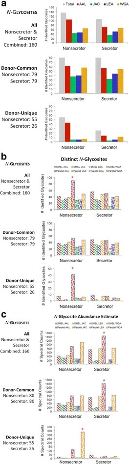 Lectin capture efficiency, in terms of number of N-glycosites identified and relative abundance. Results shown are of analysis of a single secretor and a single nonsecretor. a (upper) Overall, AAL enrichment tended to yield the greatest number of N-glycosites. a (middle) With regard to N-glycosites that were common among donors, lectin performance did not depend on secretor status (a, lower) whereas more N-glycosites tended to be captured by AAL from the nonsecretor sample. b (upper) Overall, AAL demonstrated the greatest capture efficiency, enriching more N-glycosites from the parotid saliva sample of the nonsecretor (starred). b (middle) With regard to N-glycosites that were common among donors, the low level of jacalin capture of parotid sites from the secretor sample was evident (starred). b (lower) With regard to donor-unique N-glycosites, AAL capture from parotid saliva of the nonsecretor was once again most productive in terms of a number of identified N-glycosites (starred). c (upper) As to relative abundances in terms of spectral counts and overall performance, WGA and AAL capture tended to have the highest efficiently. c (middle) In terms of donor-common species, the highest number of N-glycosites tended to be found in the AAL bound fraction of the secretor parotid saliva sample. c (lower) In terms of donor-unique sites, WGA captured the highest numbers from the nonsecretor parotid saliva sample (starred)