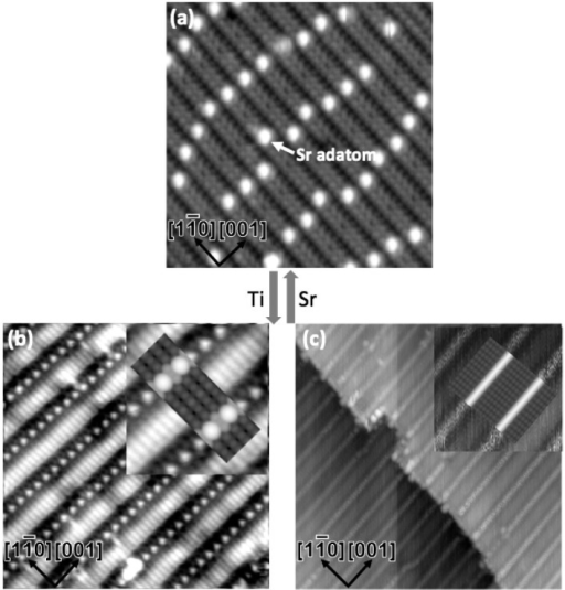 STM imagesof the 4 × 1 (a) and two kinds of 2 × 5 surfaces (b,c).The arrows in between indicate that these structures can be switchedreversibly by depositing Ti/Sr followed by annealing. The Sr singleadatom on the 4 × 1 surface is labeled by an arrow. The insetsin (b,c) show magnified views, superimposed with simulated STM imagesof 2 × 5b in (b) and 2 × 5a in (c).
