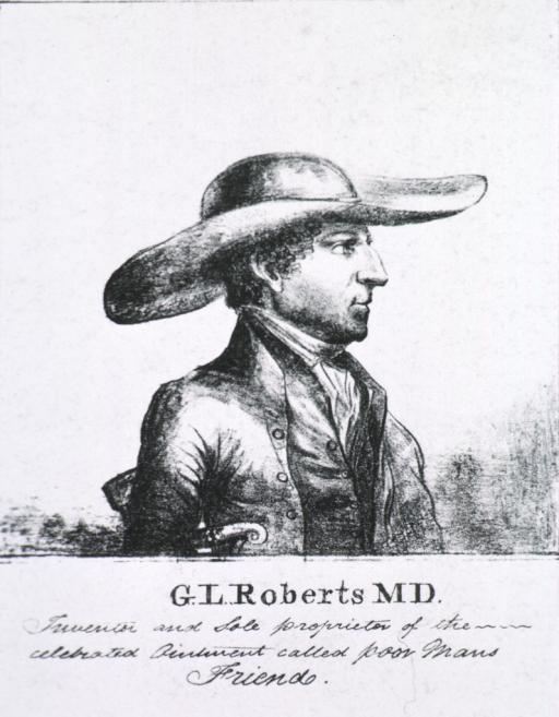 <p>Right profile, wearing large hat.</p>