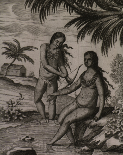 <p>An Indian maiden is being bled from tiny puncture wounds inflicted by another Indian using an arrow.</p>