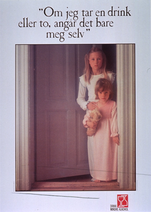 <p>White poster with black lettering.  Title at top of poster.  Visual image is a reproduction of a color photo showing two young girls.  The girls are dressed in nightgowns and standing in a doorway.  The younger girl holds a teddy bear.  Note and logo at bottom of poster.</p>