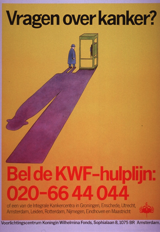 <p>Predominantly yellow poster with black and red lettering.  Title at top of poster.  Visual image is an illustration of a man walking into a phone booth.  The man and the booth cast a very long shadow.  Caption below illustration urges calling the KWF helpline.  Publisher information at bottom of poster.</p>